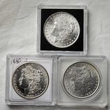 3 Morgan Silver Dollars - NM/MS/UNC - 1880-S, 1884 and 1886