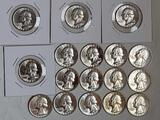 17 UNC 1955-D Silver Quarters with Beautiful Luster