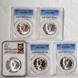 5 MS 65 1967 Kennedy 40% Silver Half Dollars (1 NGC, 4 PCGS)