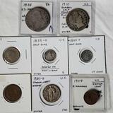 8 Antique US Coins