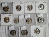 11 BU Washington Silver Quarters From 1939-19594