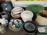 Large Lot Of Collectible Enamel Cookware