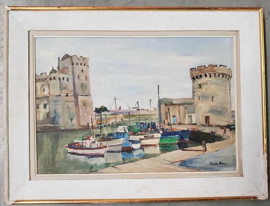 "Emile Bou (1908 - 1989) was active/lived in Algeria, Water Color On Paper ""LA Port De La Rochelle"""