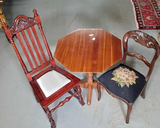 Teak Octagon Table And 2 Odd Chairs