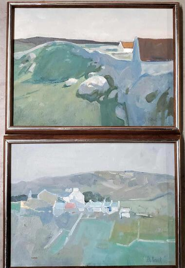 Pair Of Acylic On Canvas Abstract Landscape Paintings Signed Holbrook