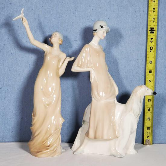 2 Royal Doulton Reflections Lady Figurines - Pomenade and Paradisese