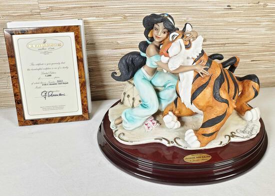1995 Florence Limited Ed. Walt Disney's Jasmine and Rajah Figurine by Giuseppe Armani