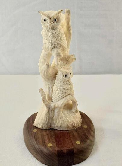 """Indonesian Deer Antler Carving Balinese Artwork """"Pair Of Owls"""""""