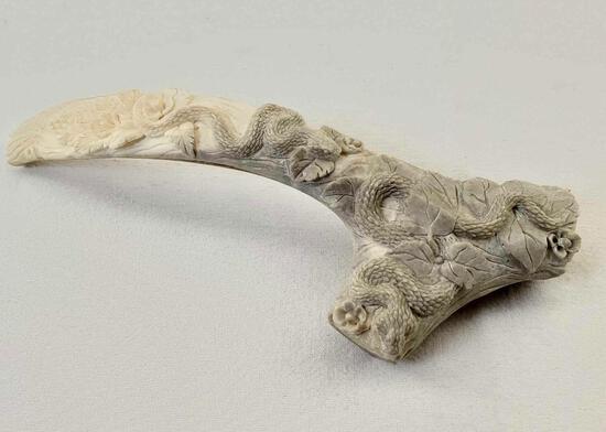 "Indonesian Deer Antler Carving Balinese Artwork ""Snake & Flora"""