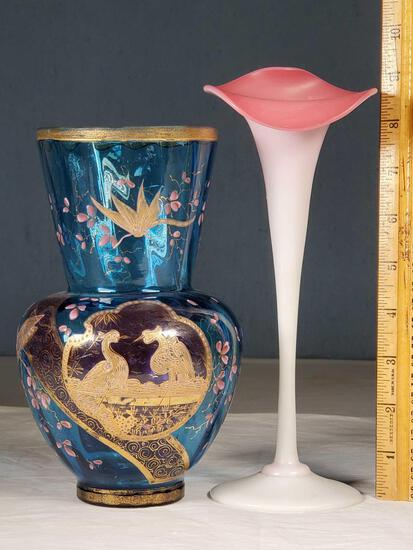 Mt Washington Peachblow JIP Tulip and Enameled Blue Glass Victorian Vases