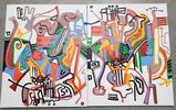 Phyllis Trager Hyman (1936-2011) Acrylic On Canvas 2005 Diptych