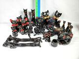 Tray Lot of Black Cat Redware Figurines, Salt & Peppers, Teapot, Ash tray Cruets and More