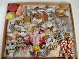 Tray Lot of Antique German Christmas Ornaments and Decorations Celluloid, Metallic, Paper, and more