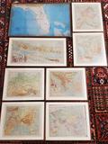 8 Vintage Framed Atlas Maps