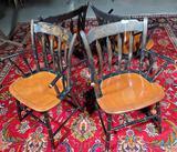 Set Of 4 Hitchcock Black & Tan Thumb Back Arm Chairs