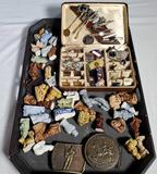 Tray Lot of Cuff Links, Tie Tacks, Wade Figurines, Medals and Belt Buckles