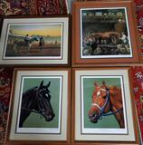 Jenness Cortez 4 Signed Matted And Framed Lithograph Horse Prints
