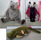 Sigikid Plush Alligator, Jeremy Spencer Jointed Bear and Wind in The Willows Mr. Badger