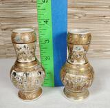 Pair of Miniature Antique gold on white Satsuma Vases