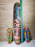 Hand Carved and Painted Indonesian Mask Wall Hangings