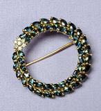 14k Gold Topaz Vintage Wreath Pin