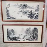 Pair Of Japanese Watercolor On Paper