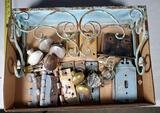 Tray Lot of Shabby Chic Wall Shelf, Antique Hinges, Lock Escutcheon Plates, and Other Hardware