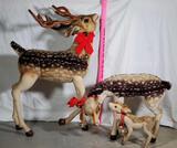 Steiff Quality European Construction Vintage Mohair Stuffed 3 Piece Showroom Size Deer Family