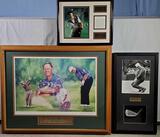 3 Pcs Golfer Photo Montage Art - Nicklaus, Stewart and Casper