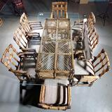 Retro Modern 2 Finger Bamboo Rattan Dining Room Table With Glass Top & 8 Chairs