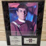 Limited Ed. Star Trek VI Spock Signed Leonard Nimoy Photo Wall Plaque w/ COA