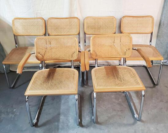 Set Of 6 Marcel Breuer Cesca Mid Century Side Chairs Made In Italy