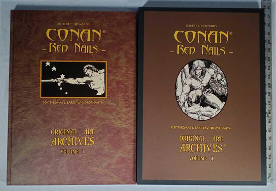 """Robet E. Howard's Conan -Red Nails - Original Art Archives Volume 1 with Sleeve 19""""x14"""" Hard Back"""