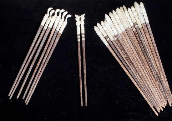 19 Pair Chopsticks with Hand Carved Bone Handle