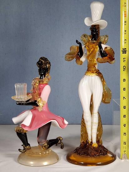 """18"""" and 12"""" Murano Glass Courtier Figurines"""