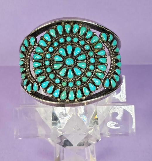 Vintage Signed Zuni Cluster Sterling & Turquoise Cuff Bracelet
