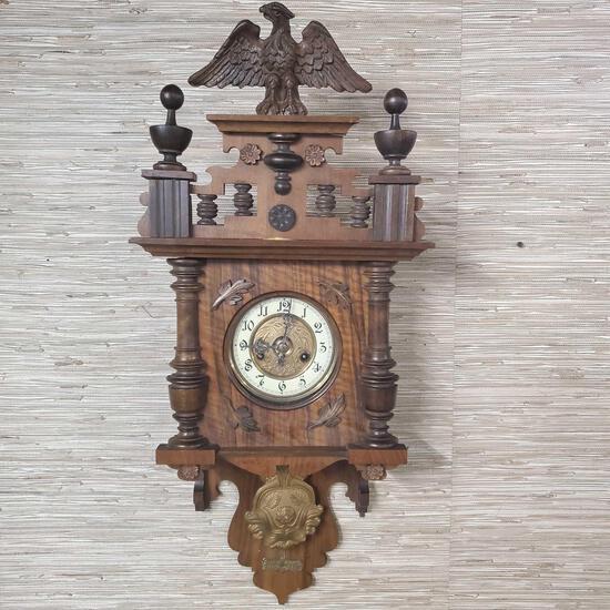 "Antique Gustav Becker Wall Regulator Clock ""Gloria"""
