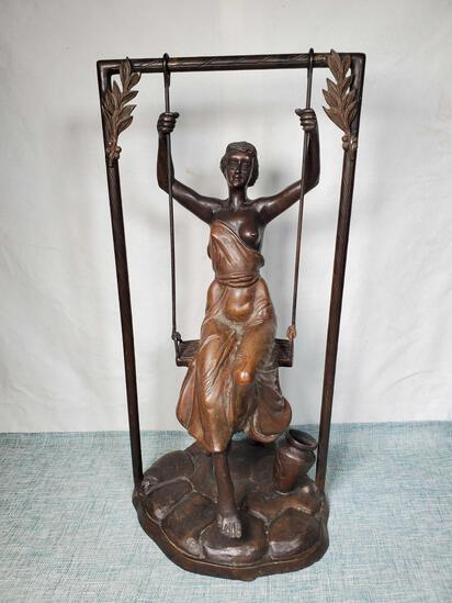 Bronze Statue of Woman on a Swing
