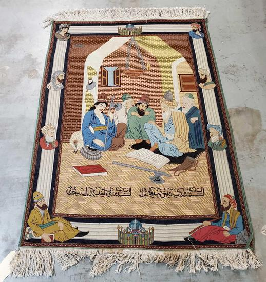 Finely Woven Persian Kashan Wool Silk Blend Pictorial Rug Tapestry of Scholarly Discussion