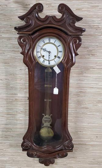 "42"" Mahogany Vienna Regulator Wall Hung Clock"