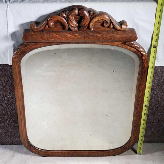 Oak Frame Beveled Edge Mirror