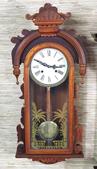 """36"""" X 15"""" Wall hung Cased Regulator Clock with Gold Accent Reverse Paint Glass Door"""