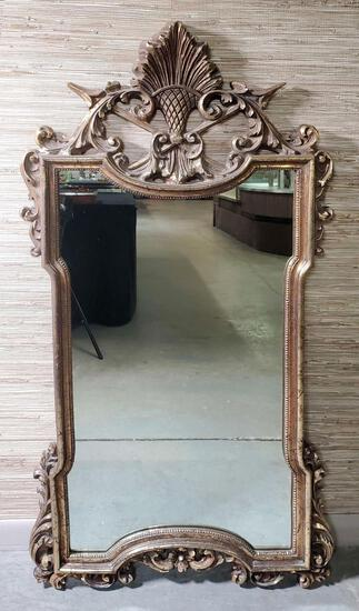 Vintage Gold Gilt Wall Mirror with Arrow Crest
