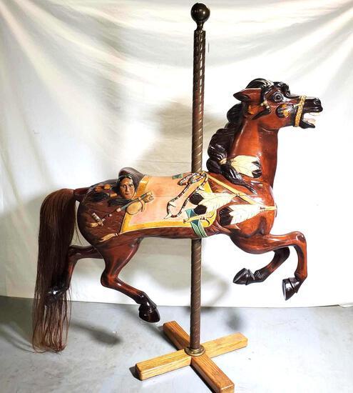O'Day & Son Native American Style Wooden Carousel Horse - Fairground horse - Merry-go-round Horse.