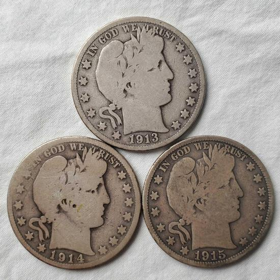 3 Rare Key Date Barber Silver Half Dollars - 1913, 1914 and 1915