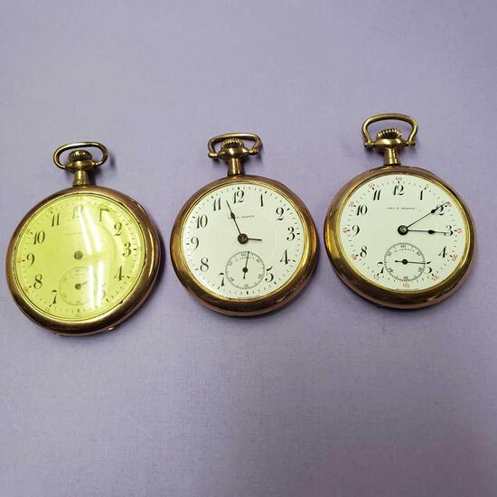 3 - D. S. & Co., Premo, Swiss Made 21 Jewel Gold Plated Pocket Watches