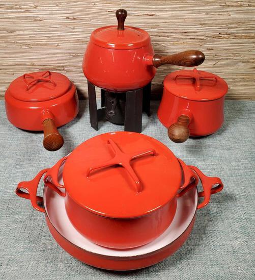 Vintage Chinese Red Koben Style Dansk Enamel Cookware