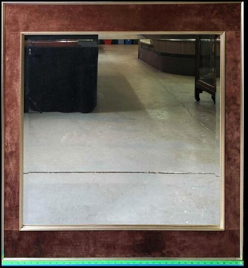 Vintage LaBarge Mid Century Brown Suede Beveled Mirror