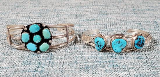 2 Vintage Navajo Sterling & Silver Turquoise Cuff Bracelets