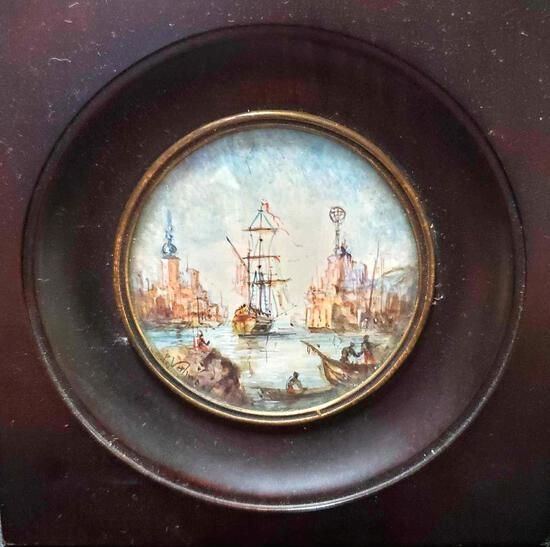 Miniature Round Painting, Limning On Ivory Of Port de Marseille Signed P Valmont